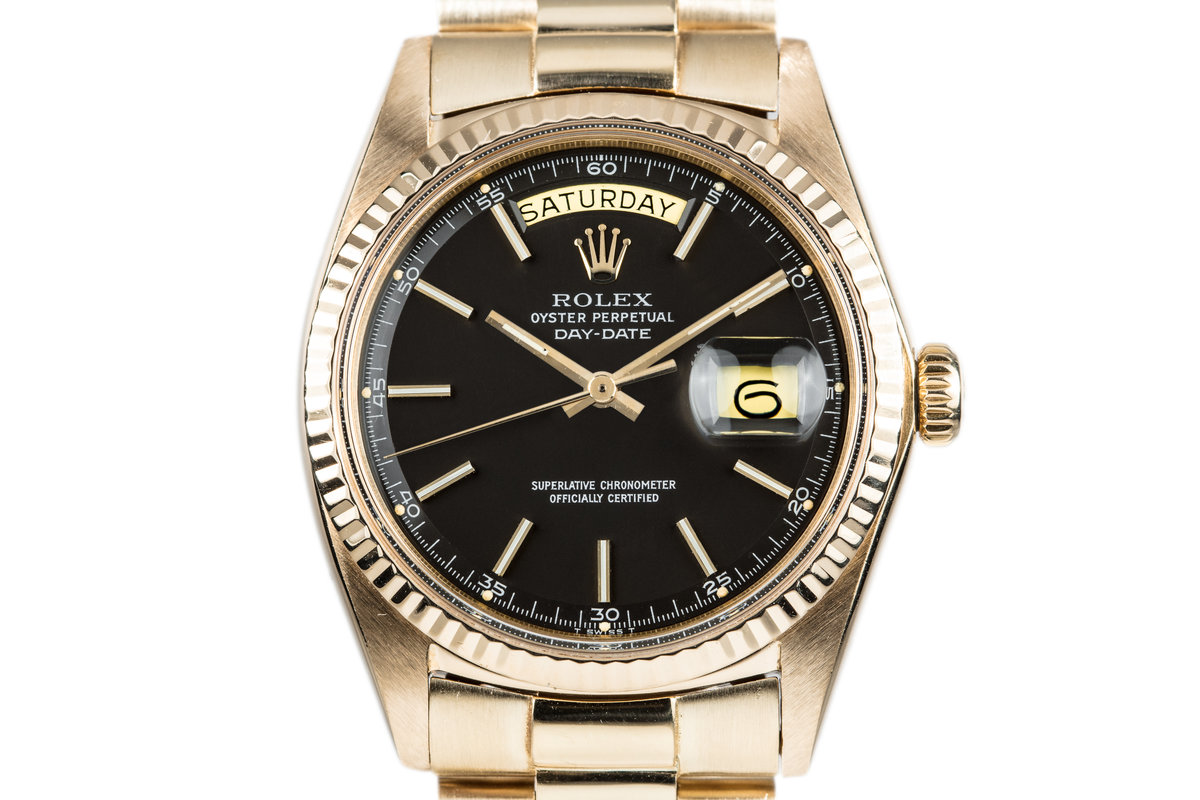 1970 Rolex 18k Day-Date 1803 with Matte Black Dial photo, #0