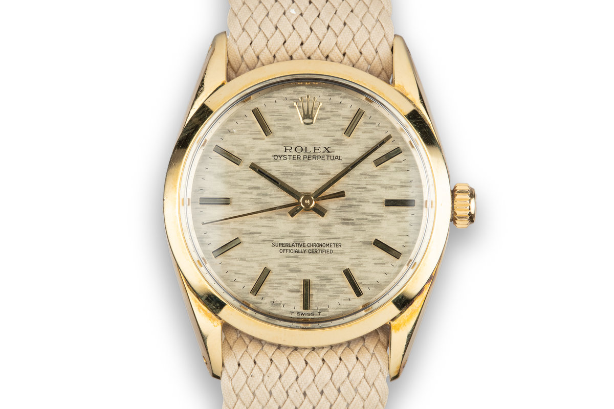 1972 Rolex Gold Shell Oyster Perpetual 1004 Mosaic Dial photo, #0
