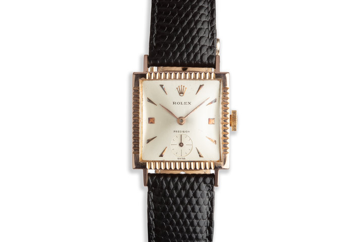 "Vintage 18k Rose Gold ""Dropped Second"" Dress Watch photo"