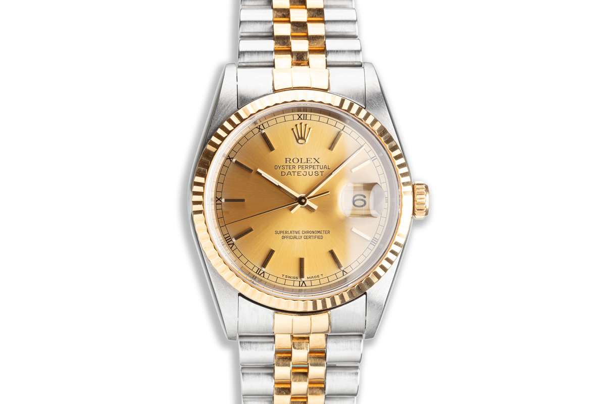 1995 Unpolished Rolex 18K/ST DateJust 16233 Gold Dial photo, #0