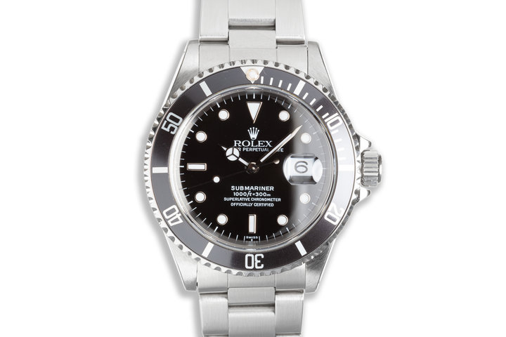 """1999 Rolex Submariner 16610 with Box & Papers """"Swiss Only"""" Dial Box, Papers & Service Card photo"""