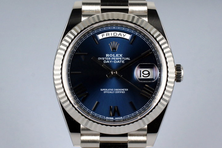 2015 Rolex WG Day-Date 228239 Blue Roman Dial with Box and Papers photo