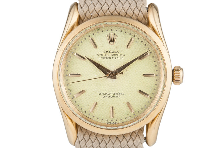 1954 Rolex Oyster Perpetual with Serpico Y Laino Waffle Dial photo