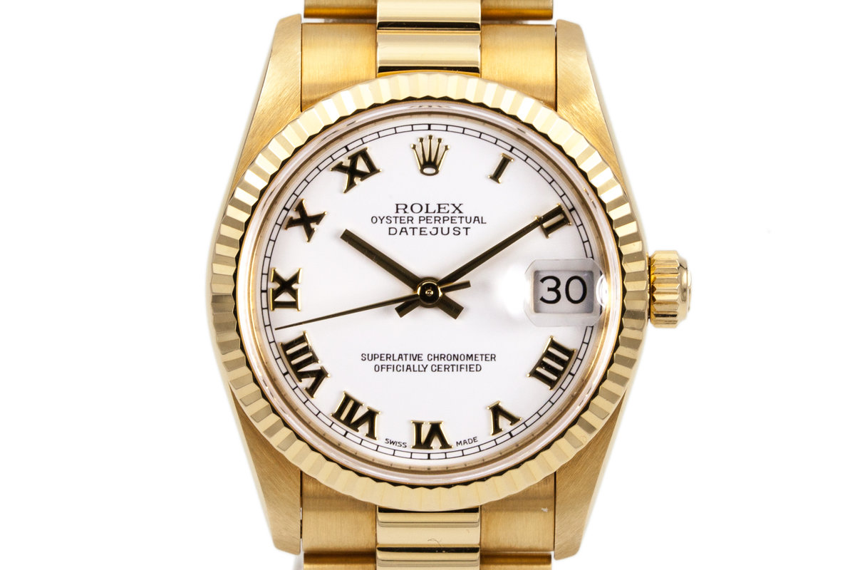 1995 Rolex YG MidSize Datejust 68278 White Roman Dial with Box and Papers photo, #0