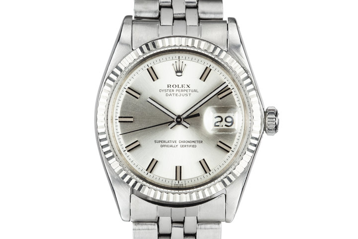 """1968 Rolex DateJust 1601 with Silver No Lume """"Wide Boy"""" Dial photo"""