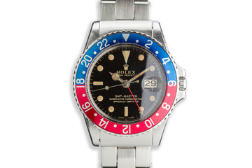 "1965 Unpolished Rolex GMT-Master 1675 Glossy Gilt Dial with ""Pepsi"" Insert photo"