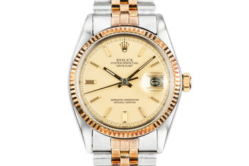 1977 Rolex Two-Tone DateJust 1601 with Matte Champagne Dial and Rosy Case Patina photo