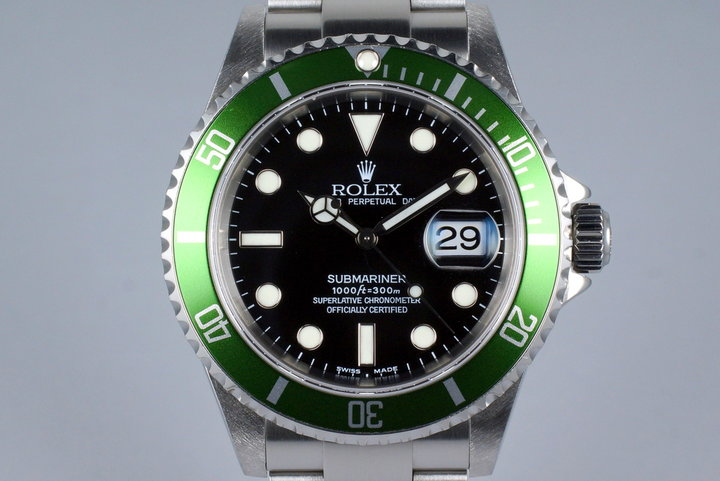 2004 Rolex Green Submariner 16610V Mark I Dial with Box and Service Papers photo