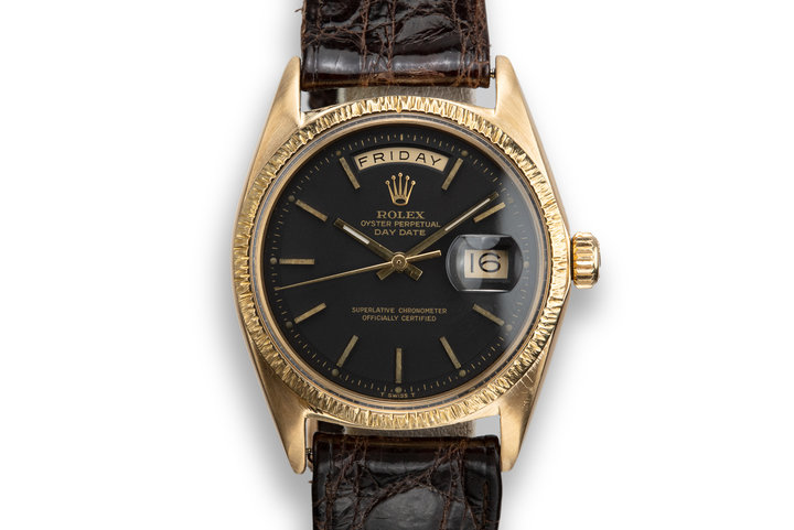 1969 Rolex 18K YG Day-Date 1807 Matte Black Dial photo