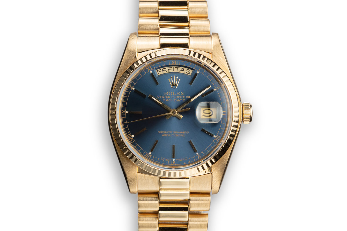 1979 Rolex 18K YG Day-Date 18038 Blue Dial with Box and Papers photo, #0