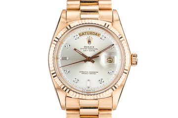 1972 Rolex Rose Gold Day Date 1803 Factory Diamond Silver Dial photo