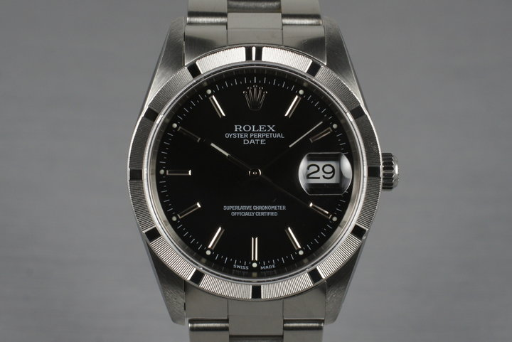 2001 Rolex Black Dial Date 15210 with Box & Papers photo