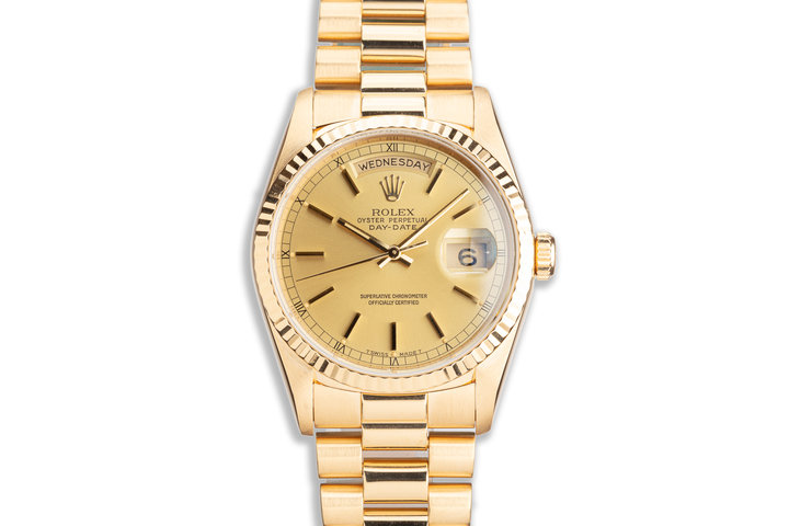 1999 Rolex 18K YG Day-Date 18238 with Gold Stick Marker Dial photo