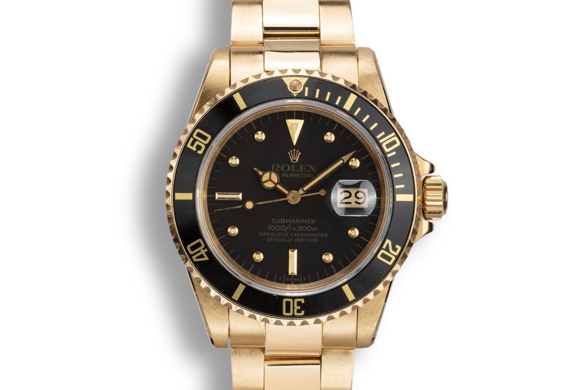 1981 Rolex 18K YG Submariner 16808 Matte Black Nipple Dial photo, #0
