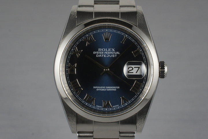 2000 Rolex DateJust 16200 with Blue Roman Dial photo