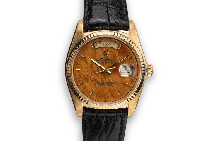 1984 Rolex 18K YG Day-Date 18038 Birch Wood Dial photo
