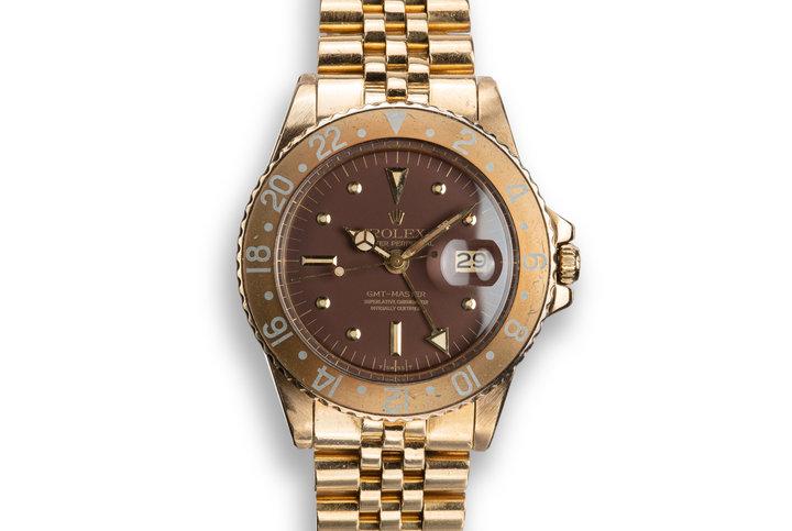 1975 Rolex 18K YG GMT-Master 1675 Brown Nipple Dial photo