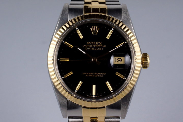 1988 Rolex Two Tone DateJust 16013 Black Dial with Box and Papers photo