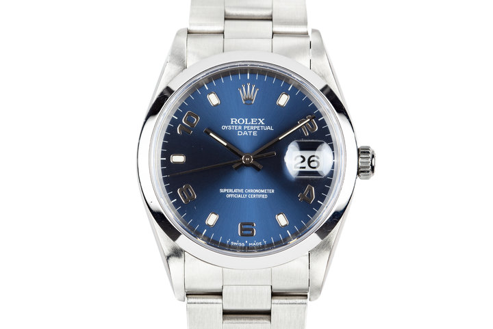 1997 Rolex Date 15200 Blue Arabic Dial with Box and Papers photo