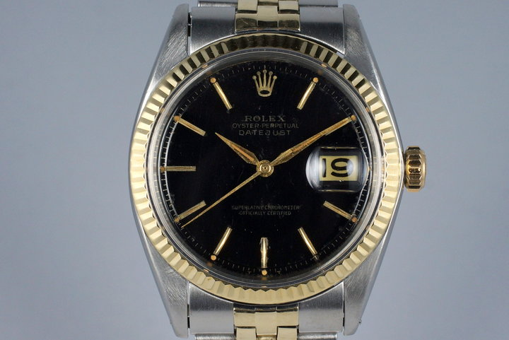 1964 Rolex Two Tone DateJust 1601 Glossy Gilt Black Dial photo