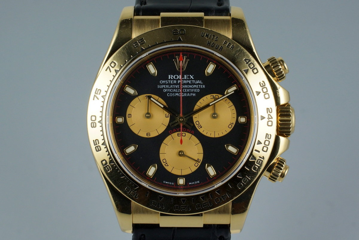 2001 Rolex 18K YG Daytona 116518 with Box & Receipt photo, #0