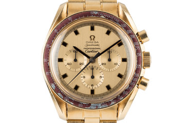 1969 18K Gold Cartier Dial Omega Speedmaster #50 with Extract of the Archives photo