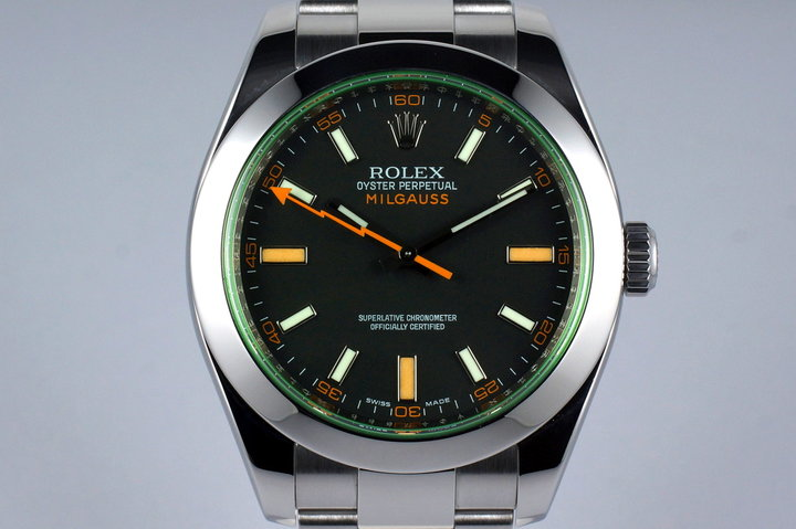 2009 Rolex Milgauss Green 116400V with Box and Papers photo