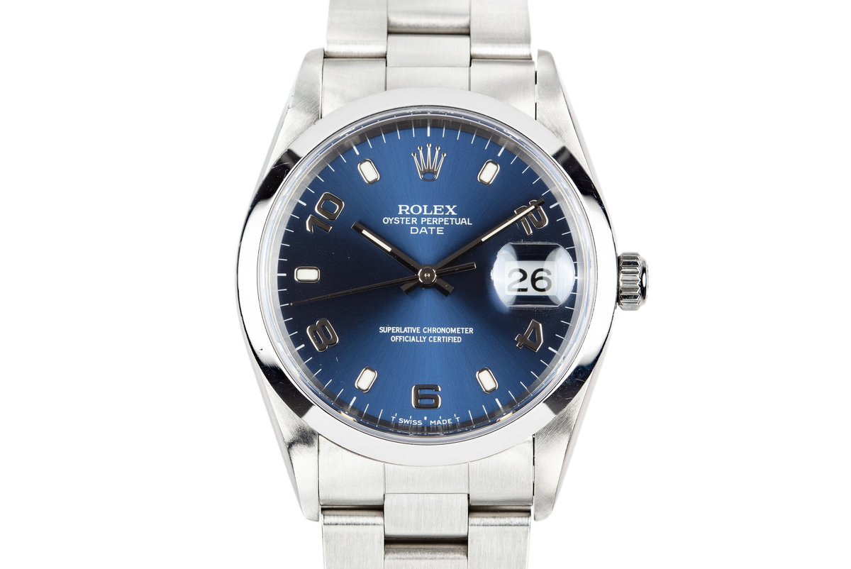 1997 Rolex Date 15200 Blue Arabic Dial with Box and Papers photo, #0