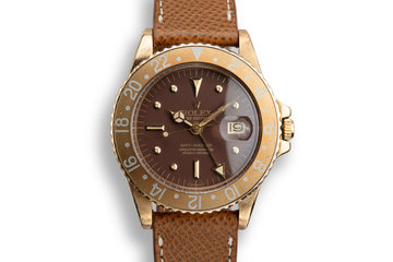 1975 Rolex 18K YG GMT-Master 1675 Brown Nipple Dial photo