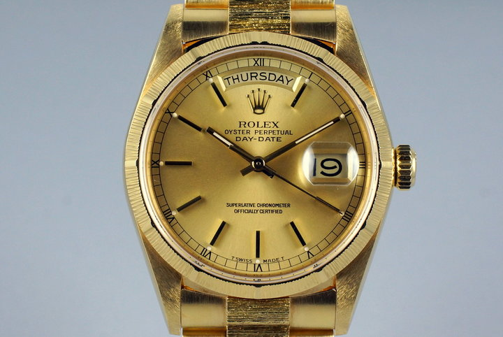 1987 Rolex YG Bark Day Date 18078 Champagne Dial photo