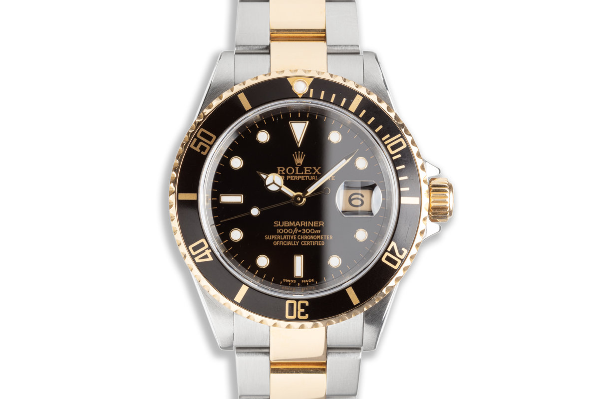 2002 Rolex 18k & Stainless Submariner 16613 Black Dial with Box & Papers photo, #0