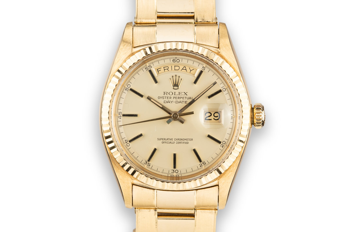 1960 Rolex 18K YG Day-Date 1803 with Matte Champagne Dial and Oyster Bracelet photo, #0