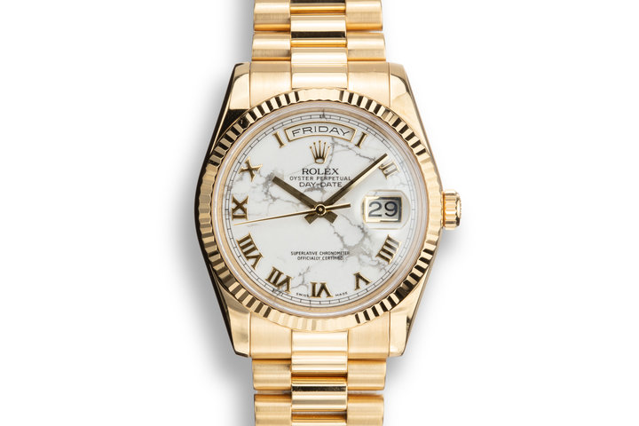 2011 Rolex 18K YG Day-Date 118238 HOWLITE dial with Box and Papers Rolex Service Award Watch photo