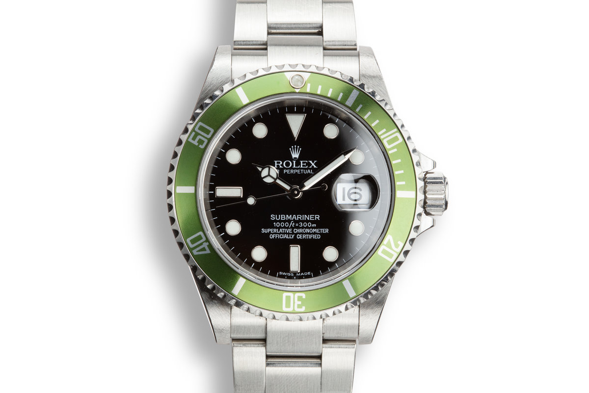 2005 Rolex Green Submariner 16610 with Box and Papers with Lime Green Insert photo, #0