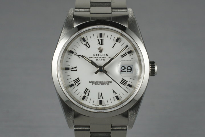 1995 Rolex Date 15200 White Roman Dial photo