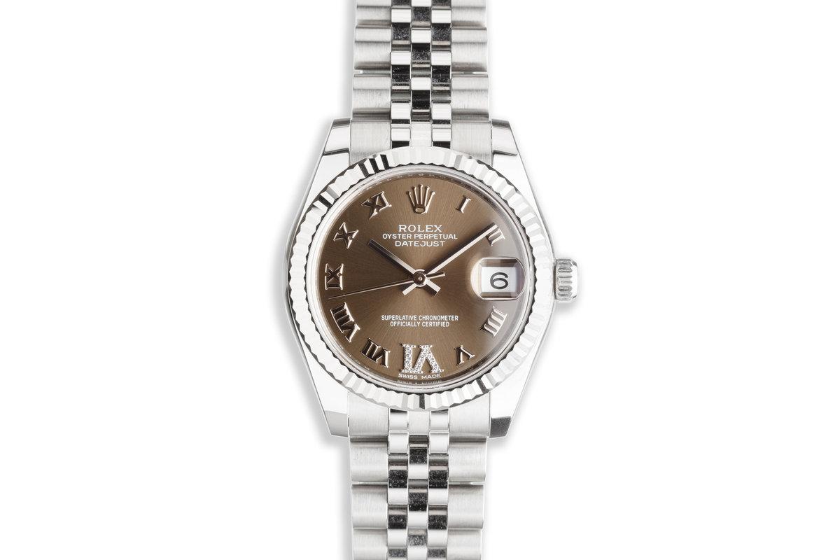 2021 Midsize 31mm Rolex Datejust 178274 Diamond 'VI' Gray Dial with Box & Card photo, #0