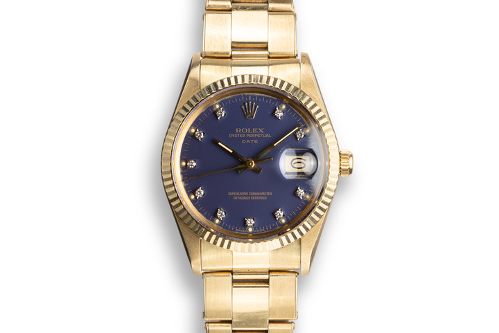 "1986 Rolex 14K YG Date 15037 ""Ford Motor Company Executive"" Blue Diamond Dial photo"