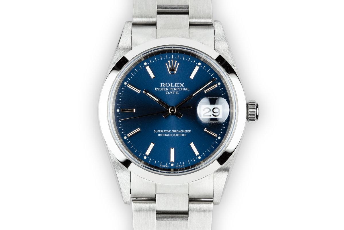 2000 Rolex Date 15200 Blue Dial photo, #0