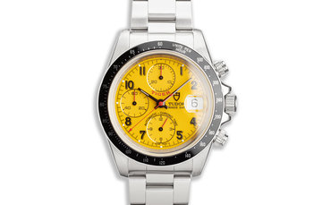 1998 Tudor Chronograph Tiger 79260 Yellow Dial Box And Service Papers photo