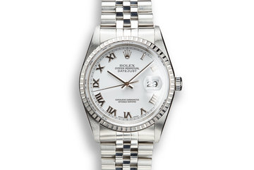 2002 Rolex DateJust 16220 No Lume White Roman Dial with Box and Papers photo