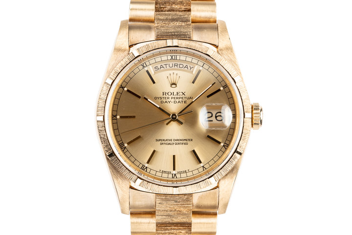 1991 Rolex 18K YG Bark Day-Date 18248 with Box photo
