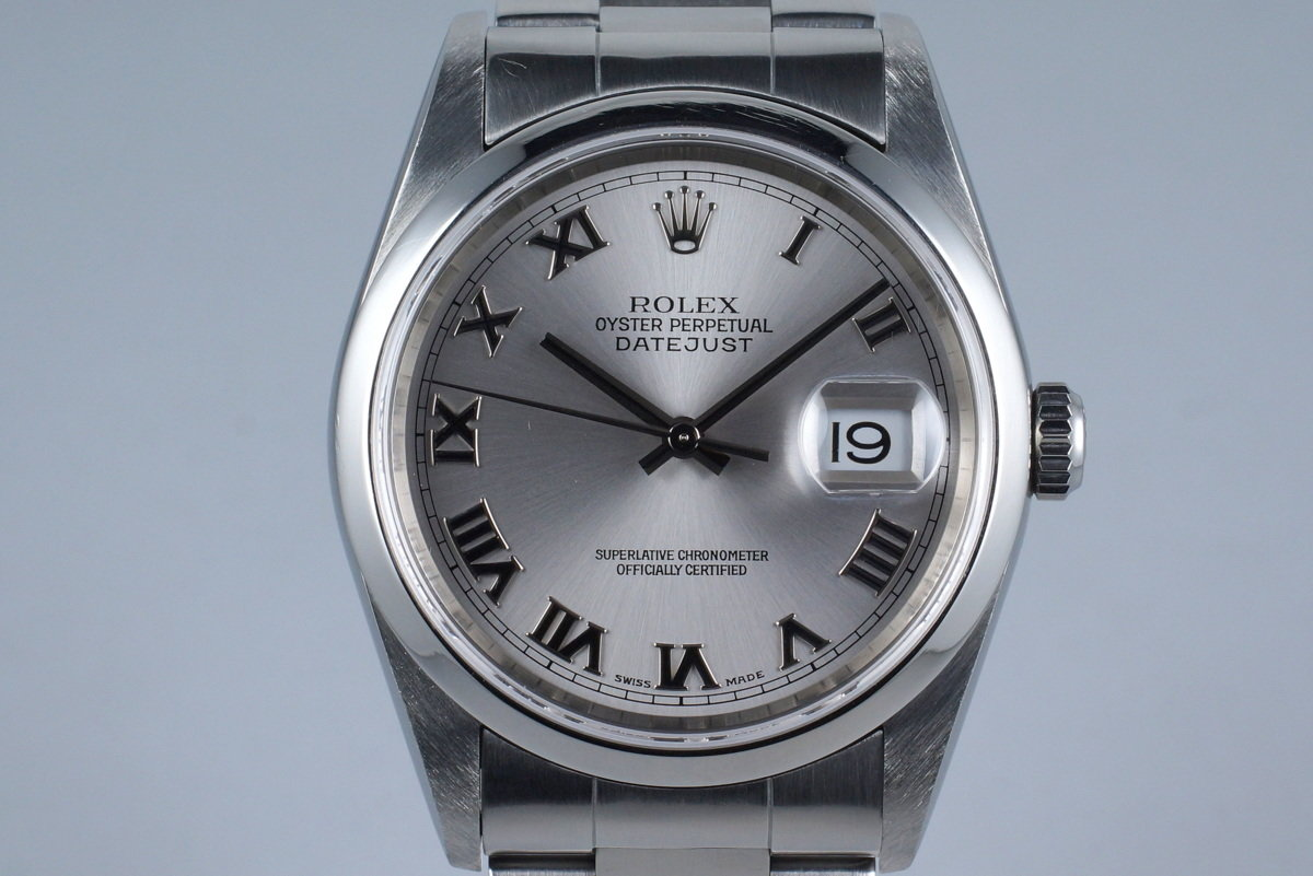 2001 Rolex DateJust 16200 with Silver Roman Dial photo, #0