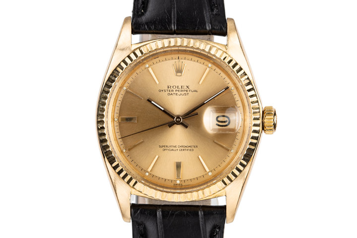 1963 Rolex 18K Yellow Gold DateJust 1601 with Box and Papers photo