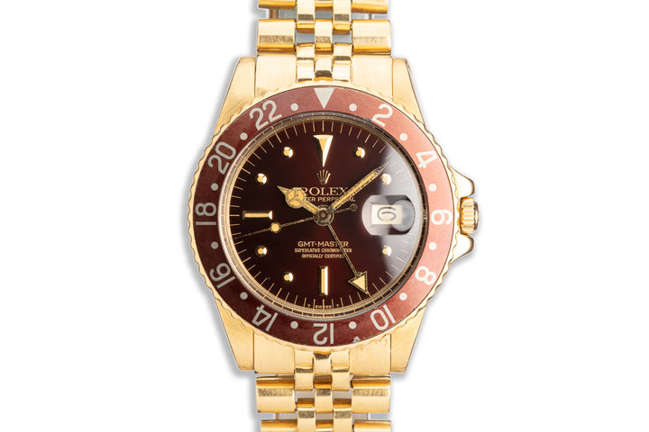 1971 Vintage Rolex 18K YG GMT-Master 1675 Brown Nipple Dial w/ Service Papers photo