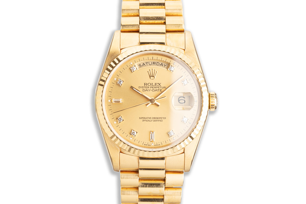 1993 Rolex 18K YG Day-Date 18238A with Metallic Gold Diamond Dial photo, #0