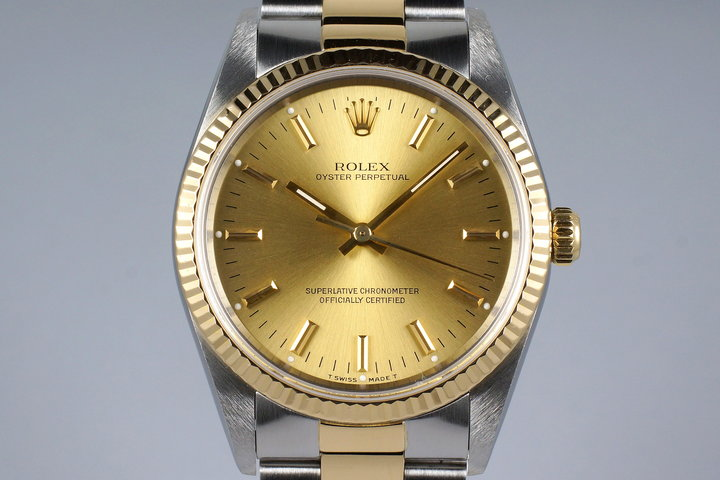 1991 Rolex Two Tone Oyster Perpetual 14233 Champagne Dial photo
