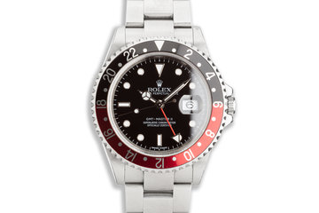 "2007 Unpolished Rolex GMT-Master II ""Error Dial"" 16710 ""Coke"" Bezel 3186 Movement Box & Papers photo"