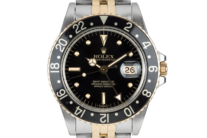 1981 Rolex Two Tone GMT-Master 16753 Black Nipple Dial with Box and Original Sales Receipt photo