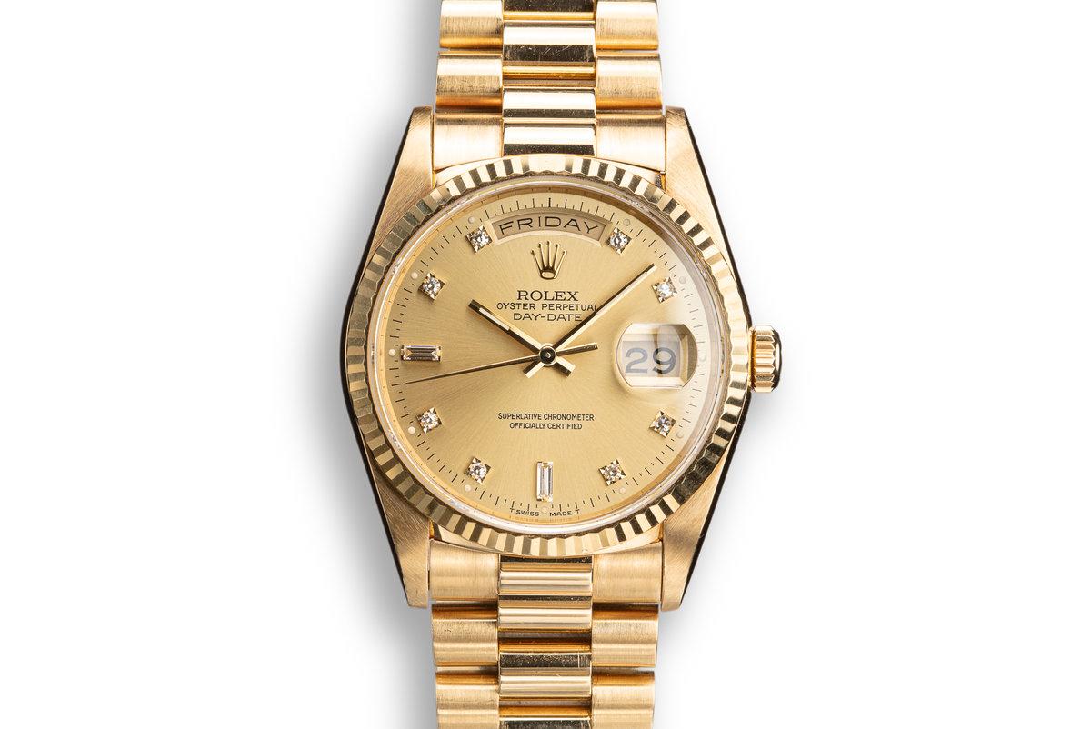 1989 Rolex 18K YG Day-Date 18238 Champagne Diamond Dial photo, #0