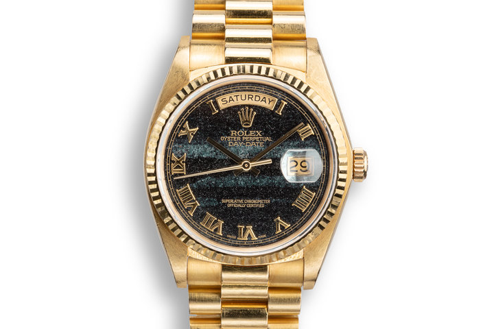 1983 Rolex 18K YG Day-Date 18038 Dial Ferrite with Box, Papers, and Service Papers photo